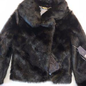 Jennifer Lopez Faux Fur Brown Coat Size M